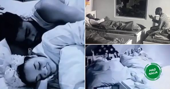 Big brother naija housemates gossiping and cuddling