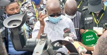 Photos as Oshiomhole votes in Iyamho, blasts INEC for failed card readers